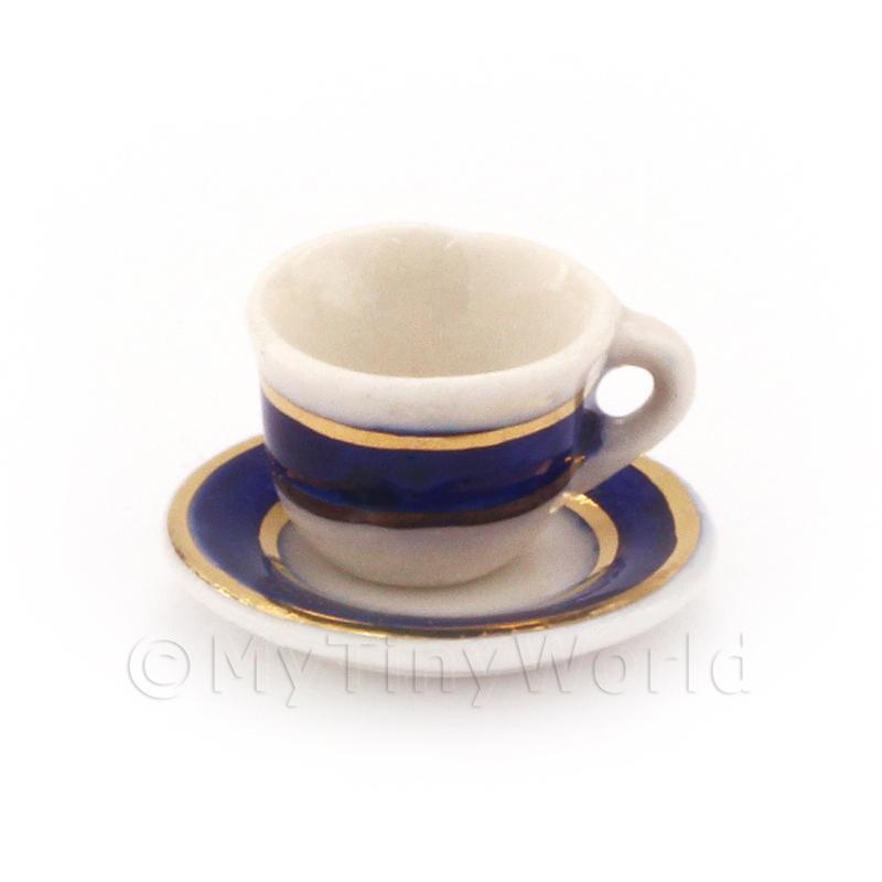 Casa de muñecas en miniatura azul y oro metálico Taza De Café