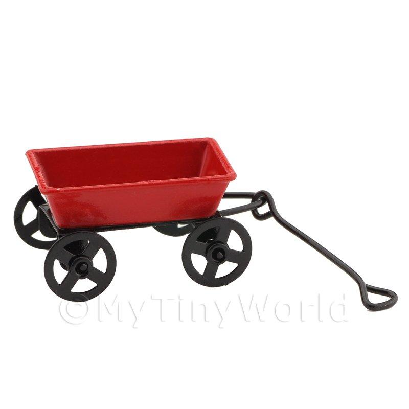 Casa De Muñecas En Miniatura Rojo Antigua Metal Tire a lo largo de carro