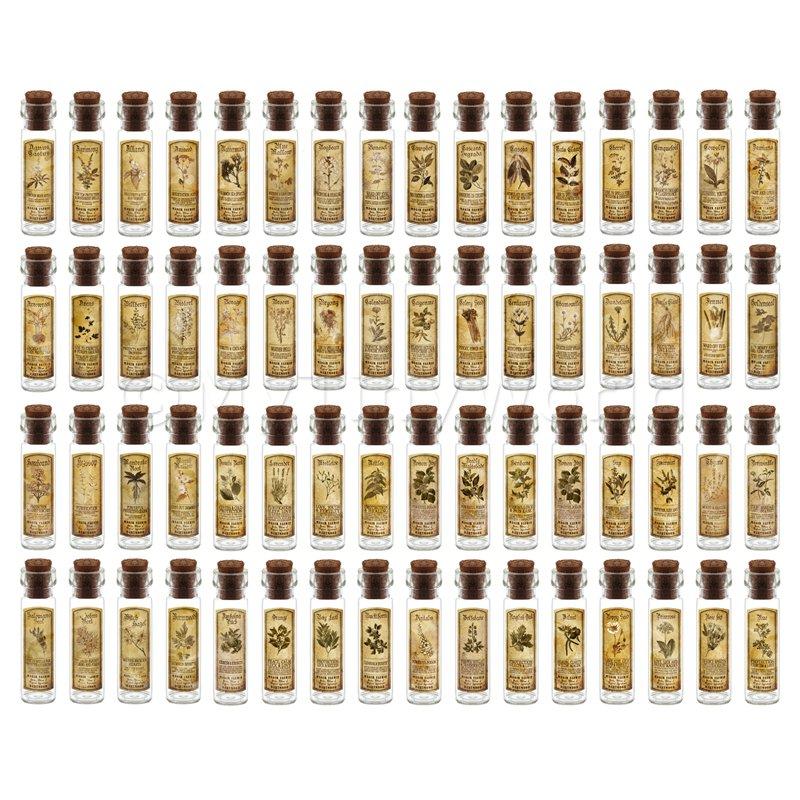 descuento Casa De Muñecas BotiCocheio Conjunto de de de 64 Botellas De Etiqueta Y Hierba Larga Sepia  El nuevo outlet de marcas online.