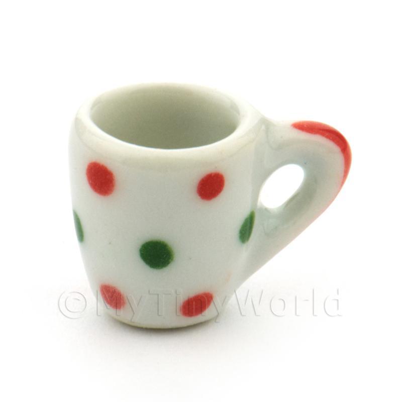 3x casa de muñecas en miniatura de Tazas de sopa de Cerámica Verde