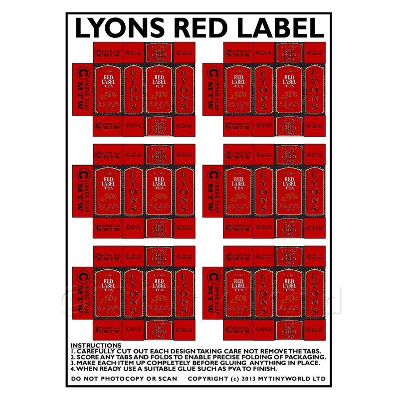 Casa De Muñecas En Miniatura Embalaje Hoja de 6 Lyons Red Label