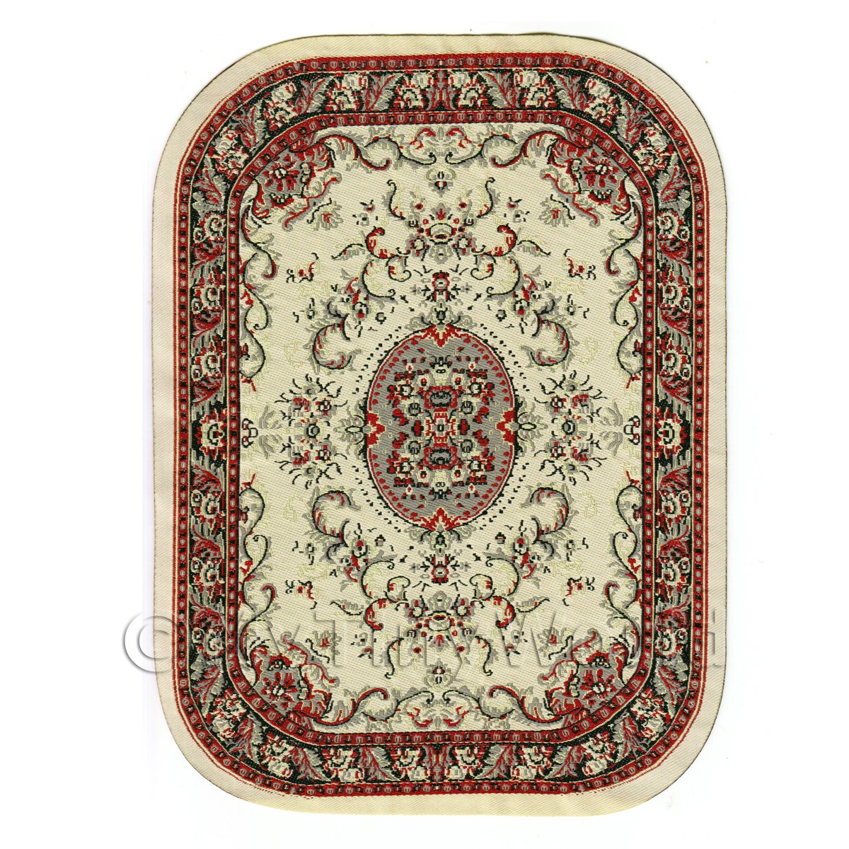 Dolls House Miniature Large Oval Victorian Carpet / Rug
