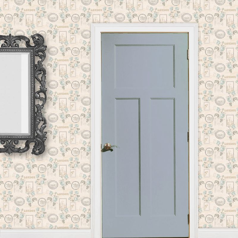 Dolls House Miniature Pale Blue Roses And Picture Frames Wallpaper ...