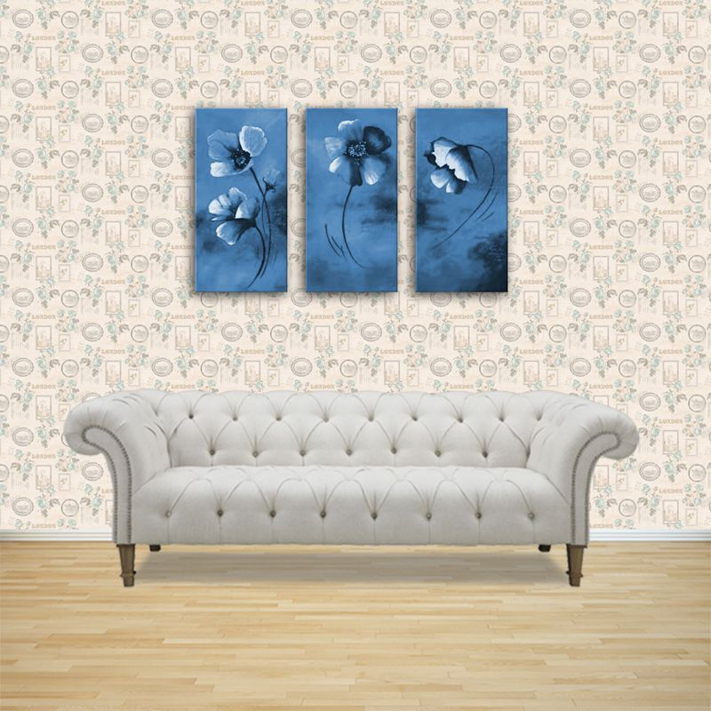 Dolls House Miniature Pale Blue Roses And Picture Frames Wallpaper