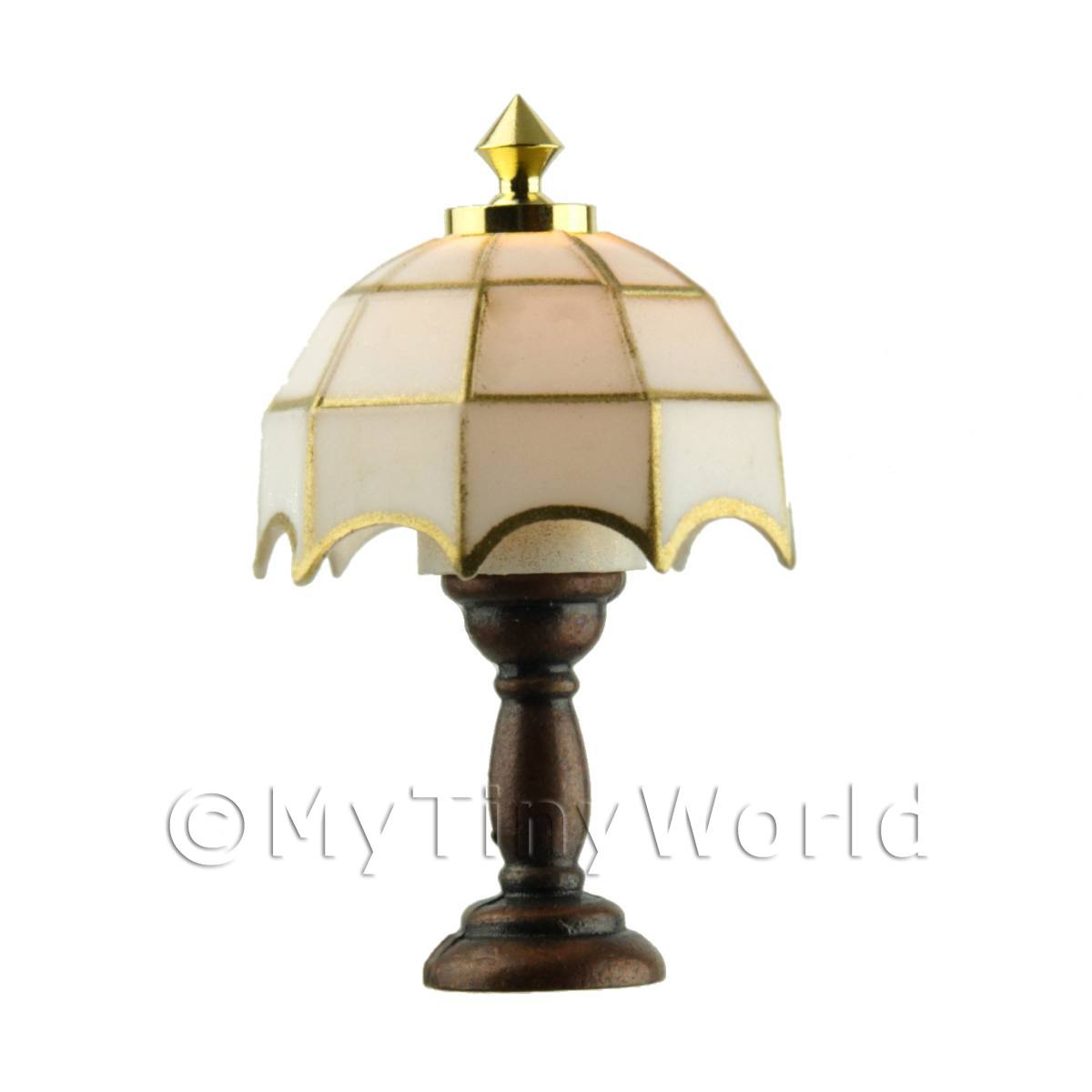Dolls House Miniature White Tiffany Lamp