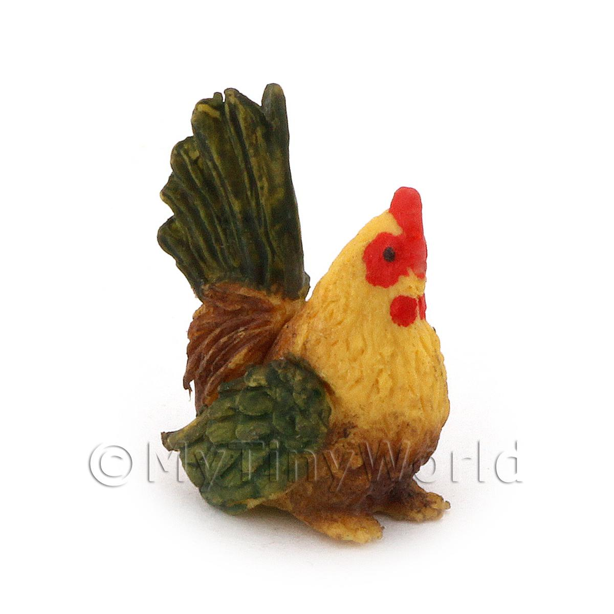 Dolls House Miniature Green And Brown Hen