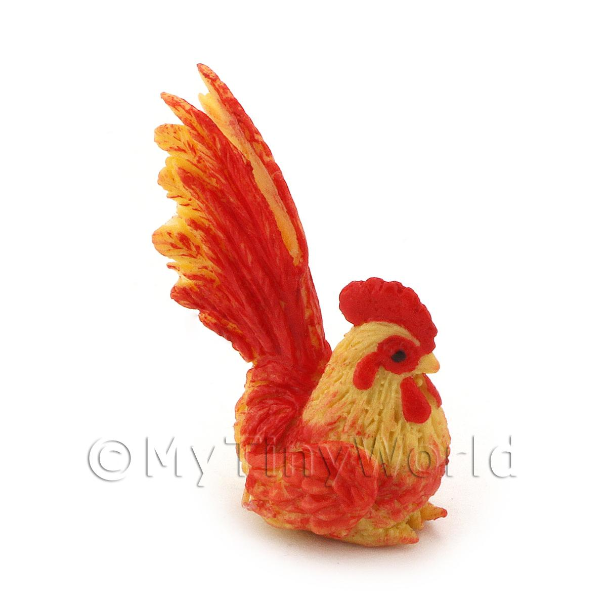 Dolls House Miniature Red And Yellow Cockerel