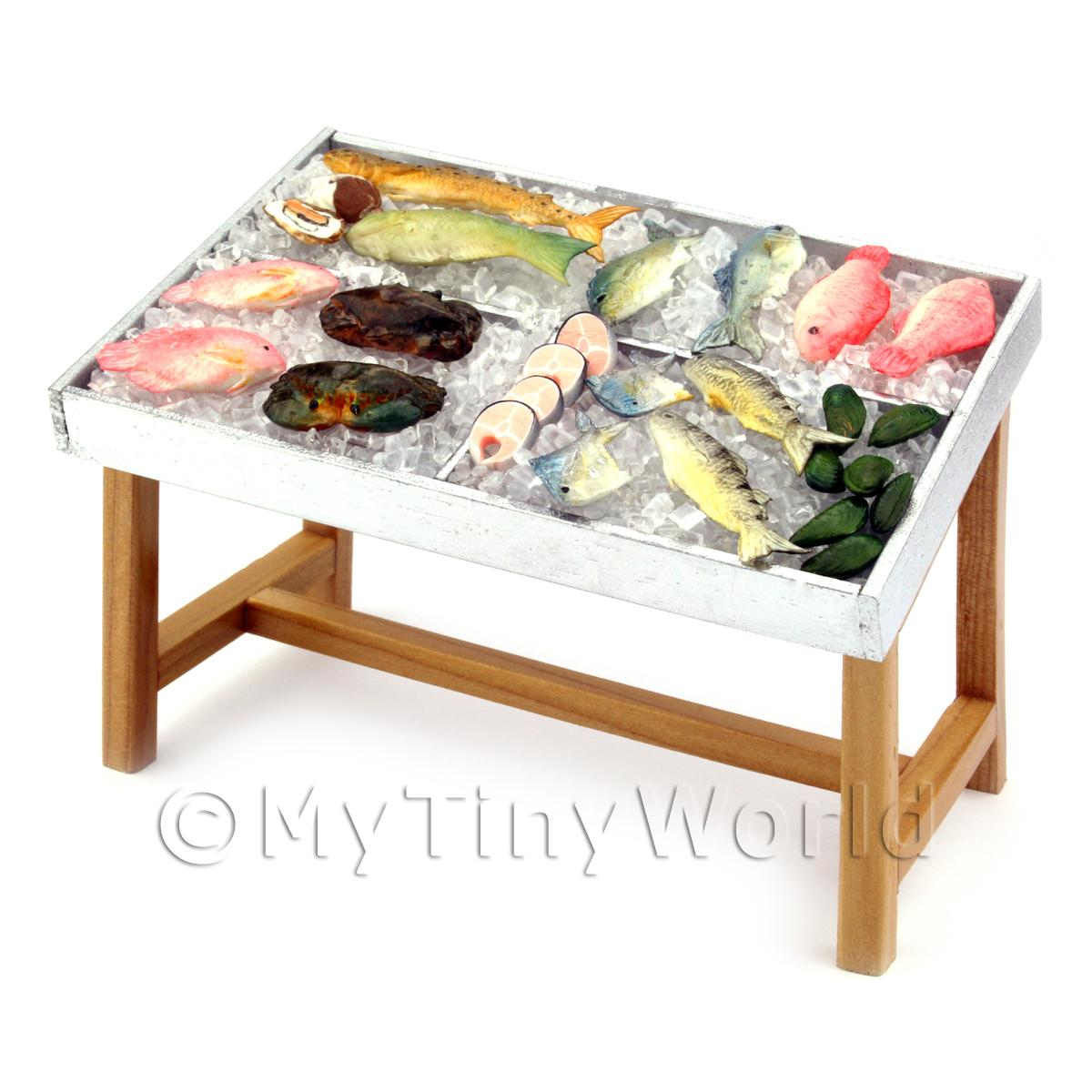 Dolls House 3 Compartment Stocked Fish Counter Style 1
