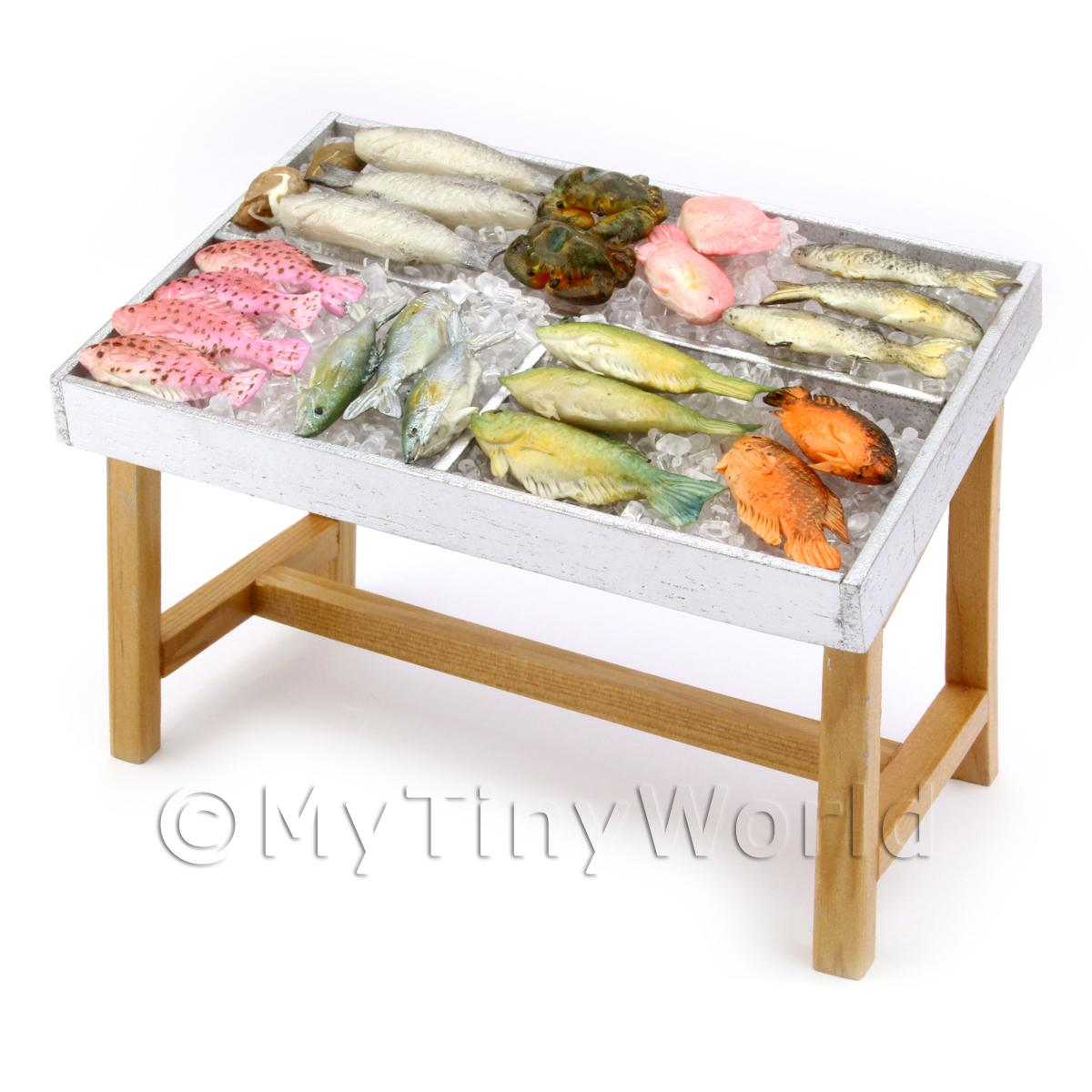 Dolls House 3 Compartment Stocked Fish Counter Style 2
