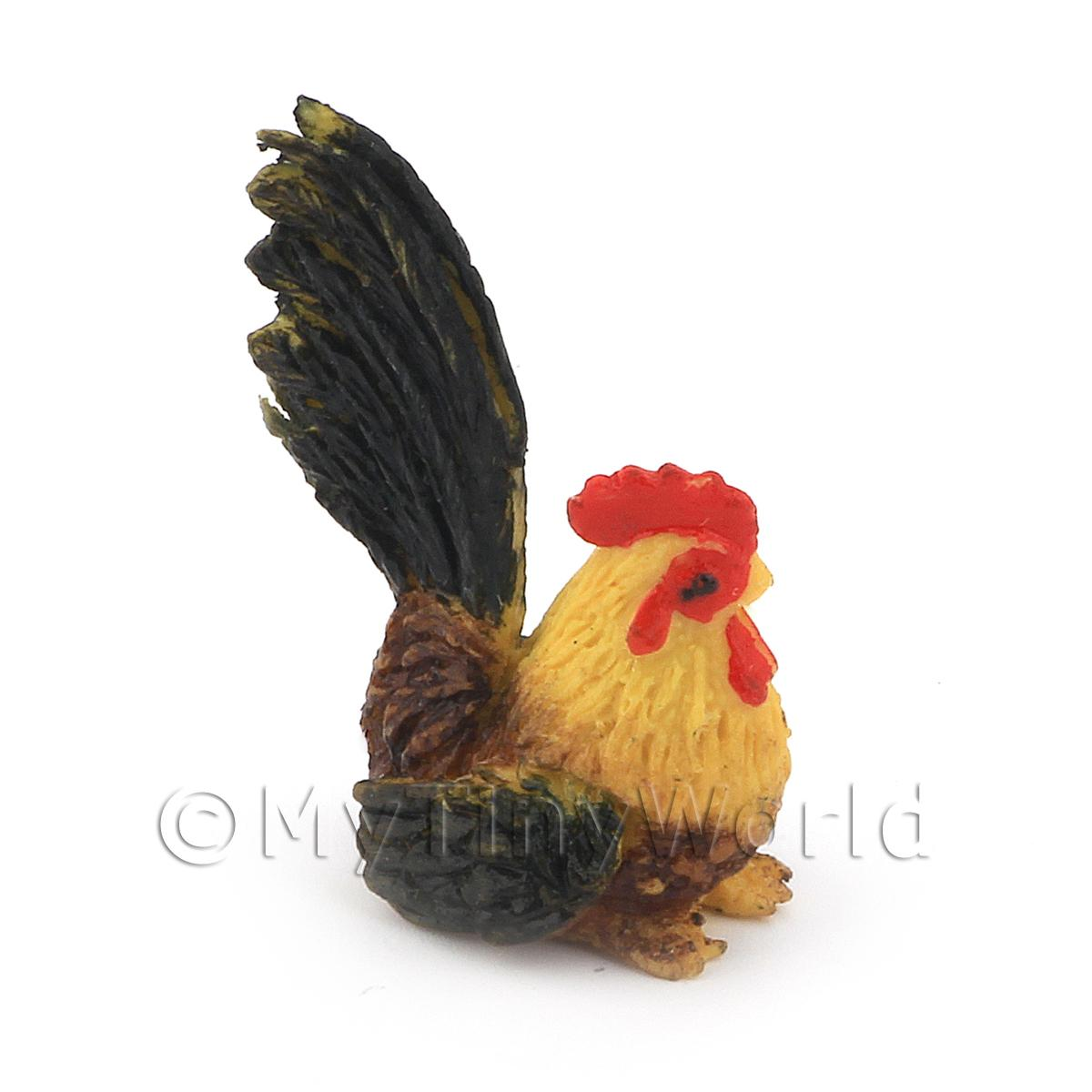 Dolls House Miniature Black And Yellow Cockerel