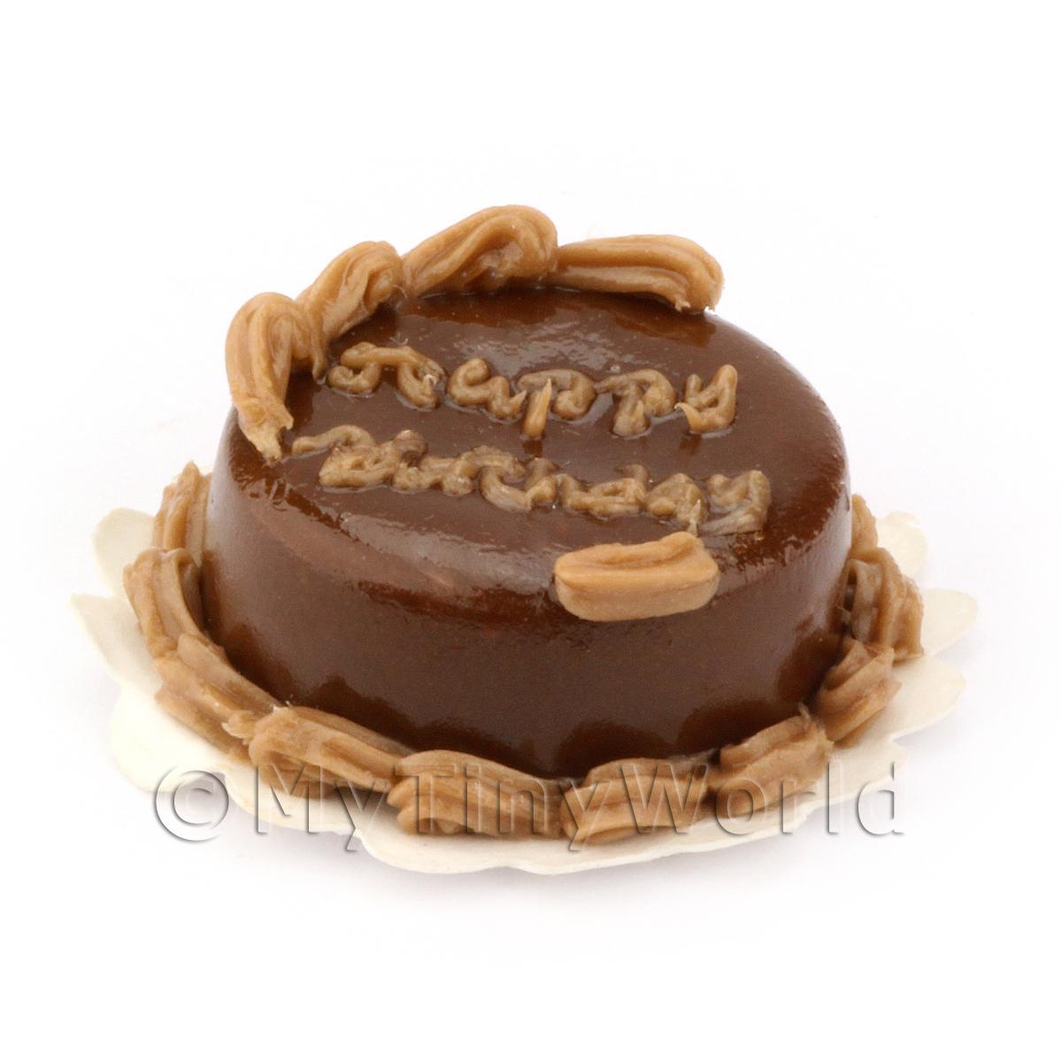 Dolls House Miniature Chocolate Cake With Writing