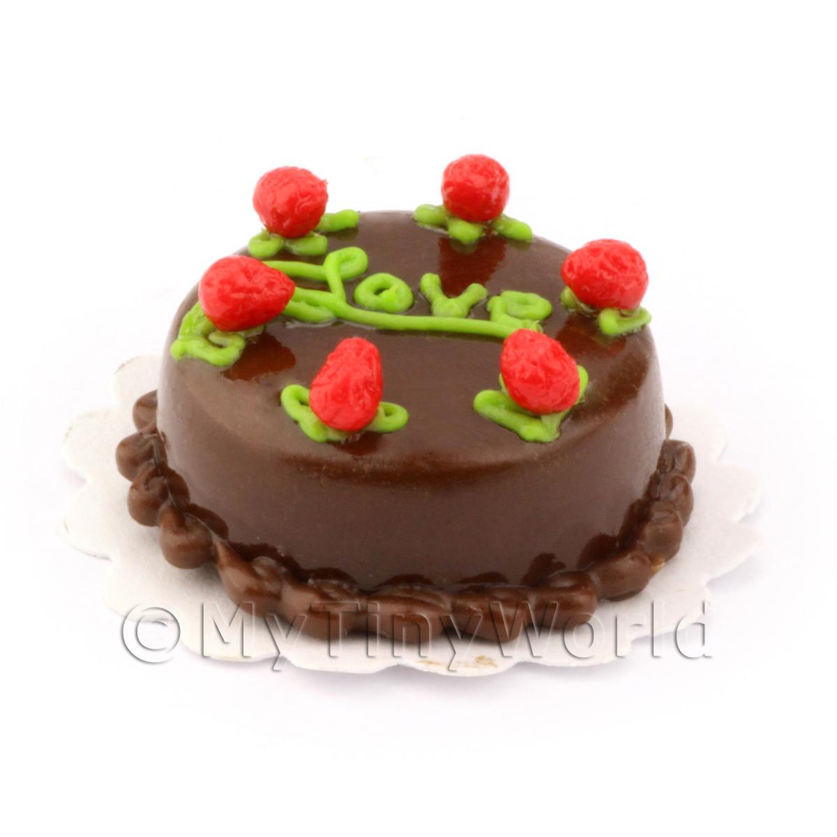 Dolls House Miniature Chocolate Cake With Strawberries