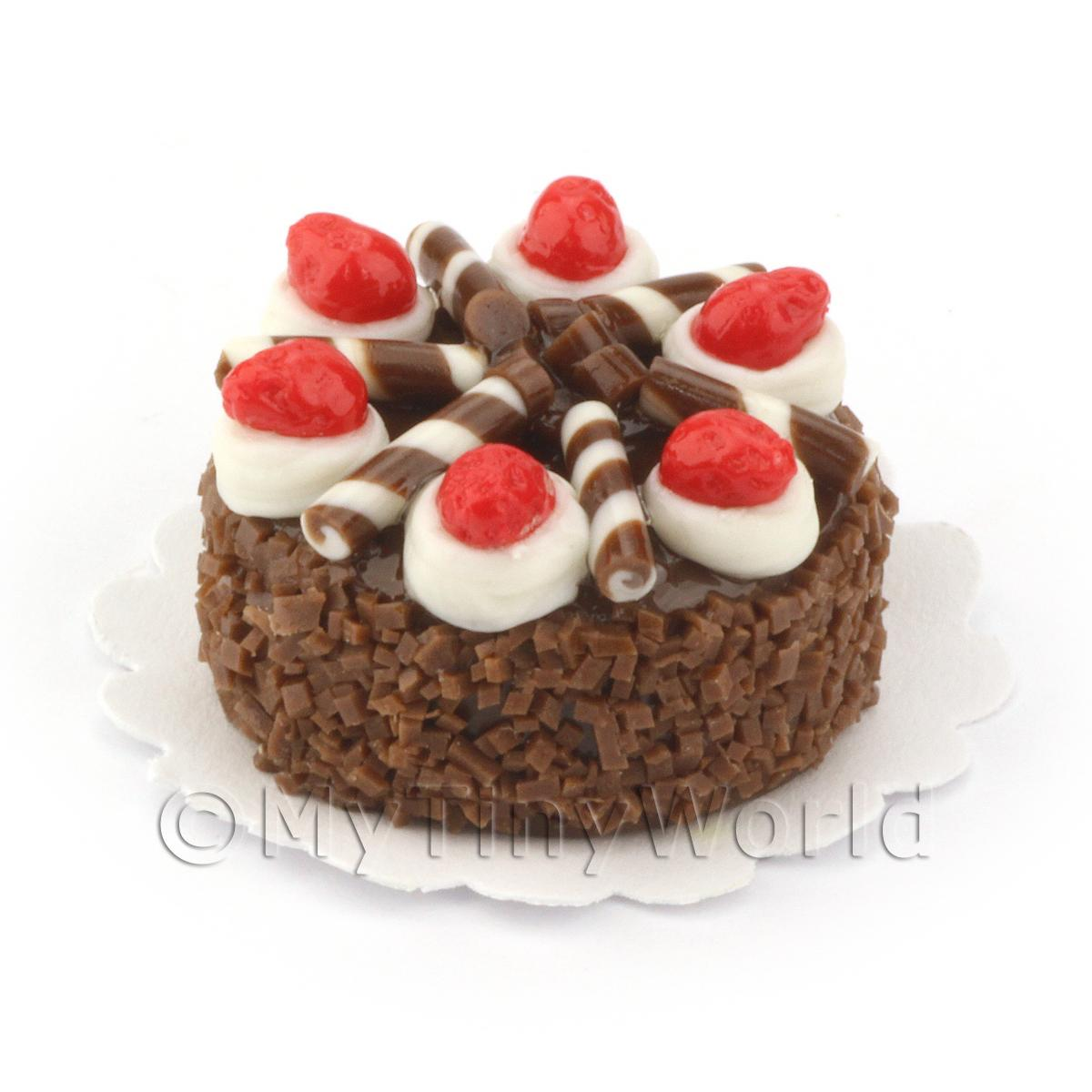 Dolls House Miniature Chocolate Strawberry Cake