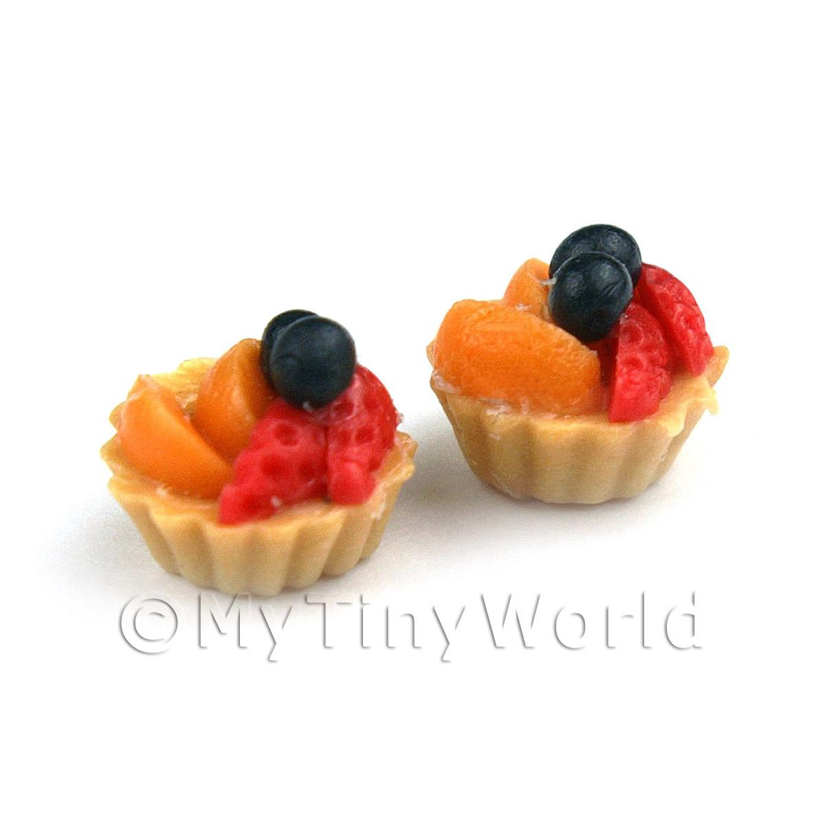 Dolls House Miniature Loose Handmade Strawberry and Peach Tart