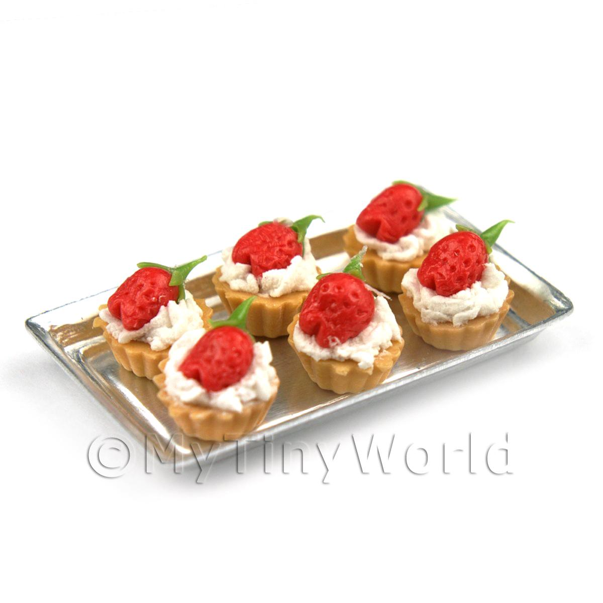 6 Loose Dolls House Miniature  Strawberry and Cream Tarts on a Tray