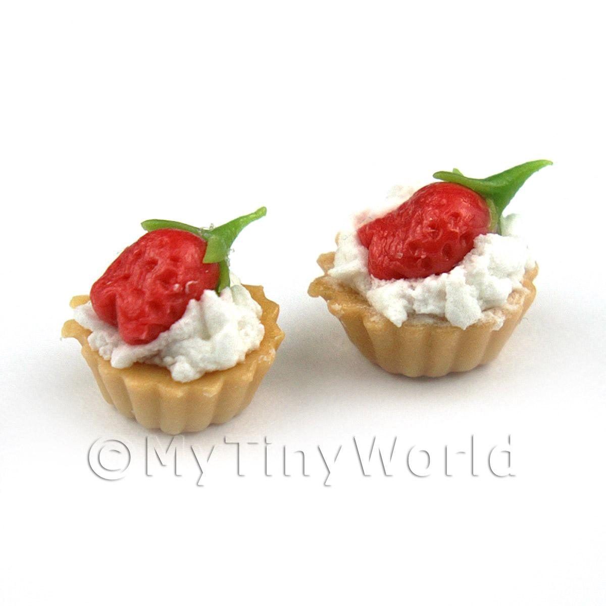 Dolls House Miniature Loose Whole Strawberry and Cream Tart