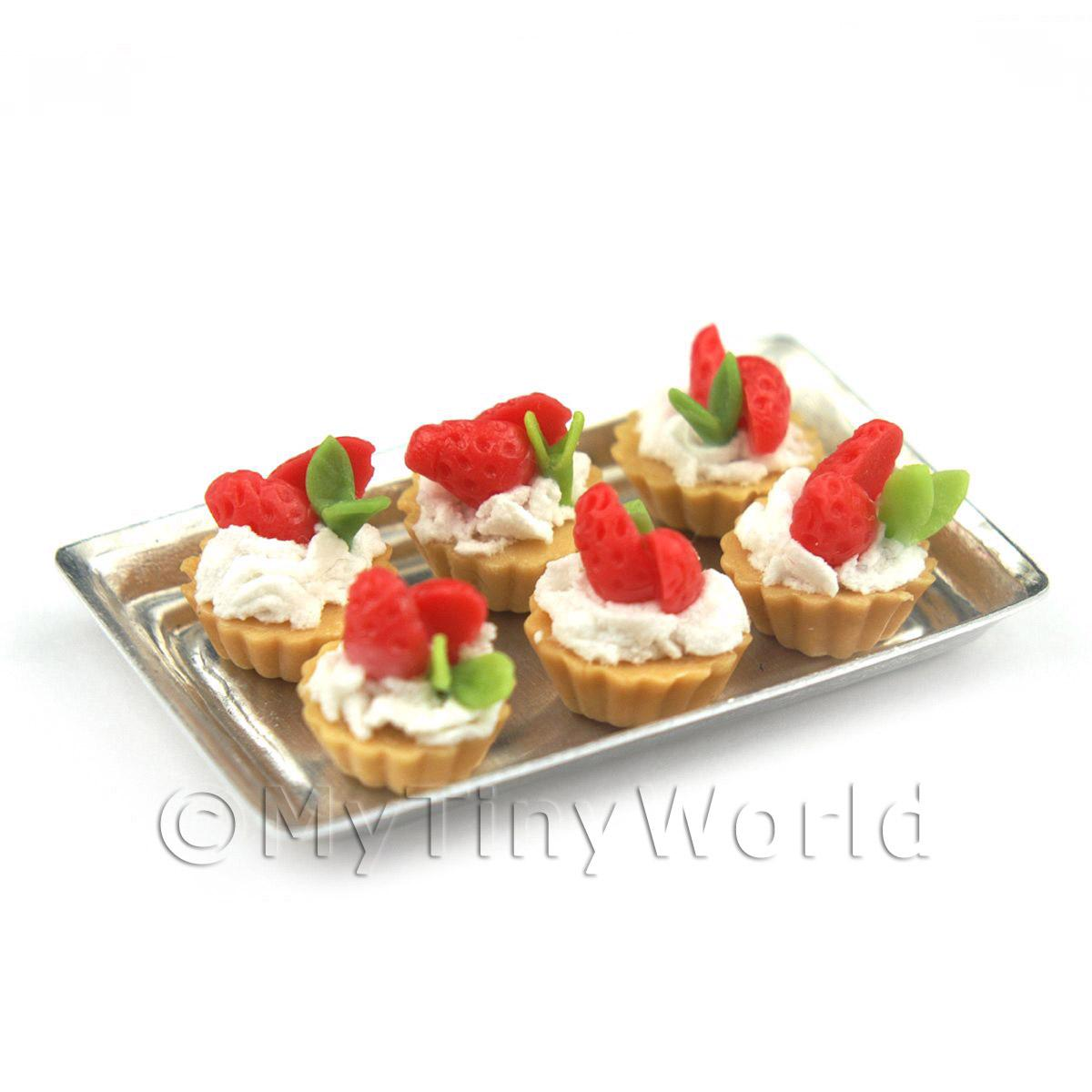 6 Loose Dolls House Miniature  Half Strawberry Tarts on a Tray