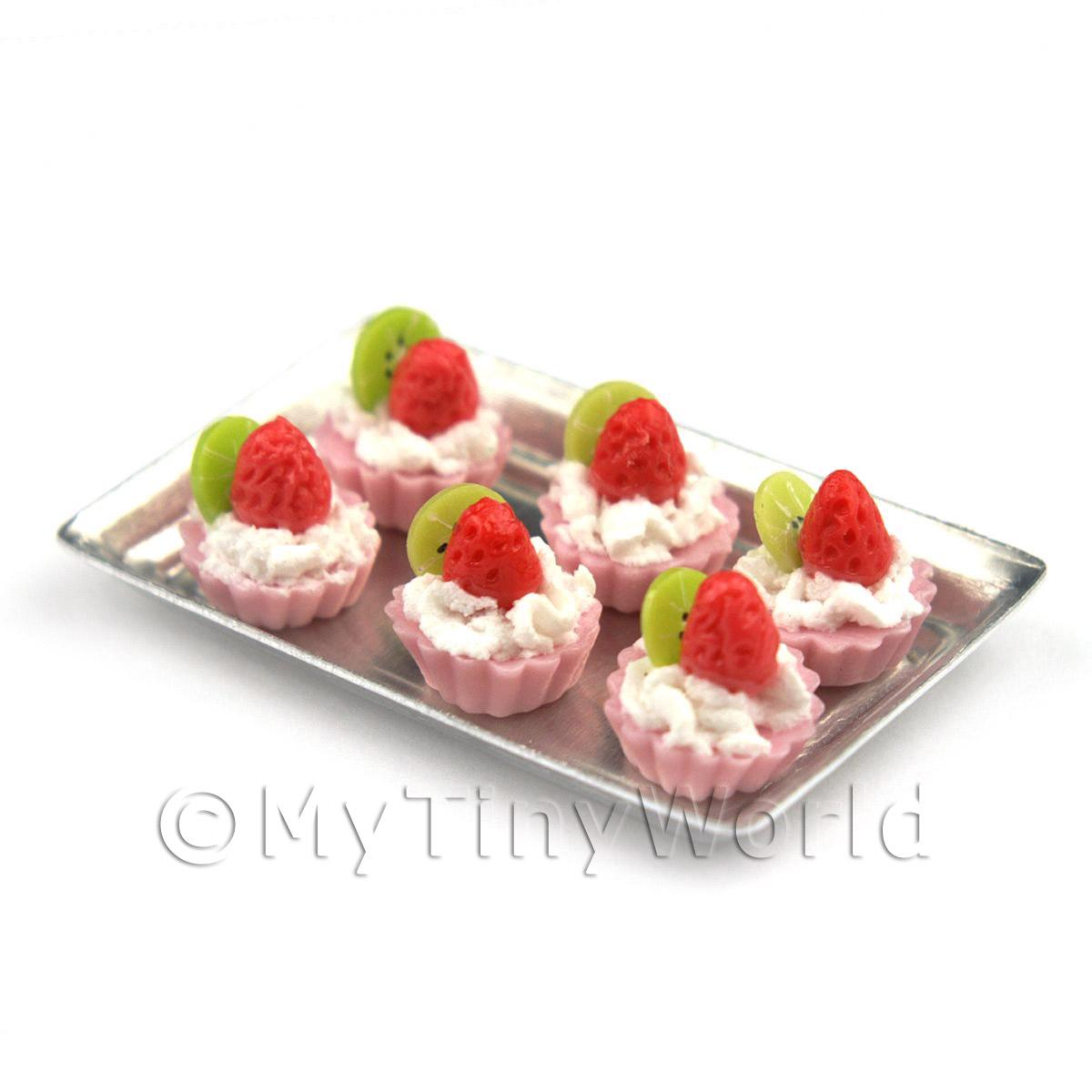6 Loose Dolls House Miniature  Strawberry and Kiwi Tarts on a Tray