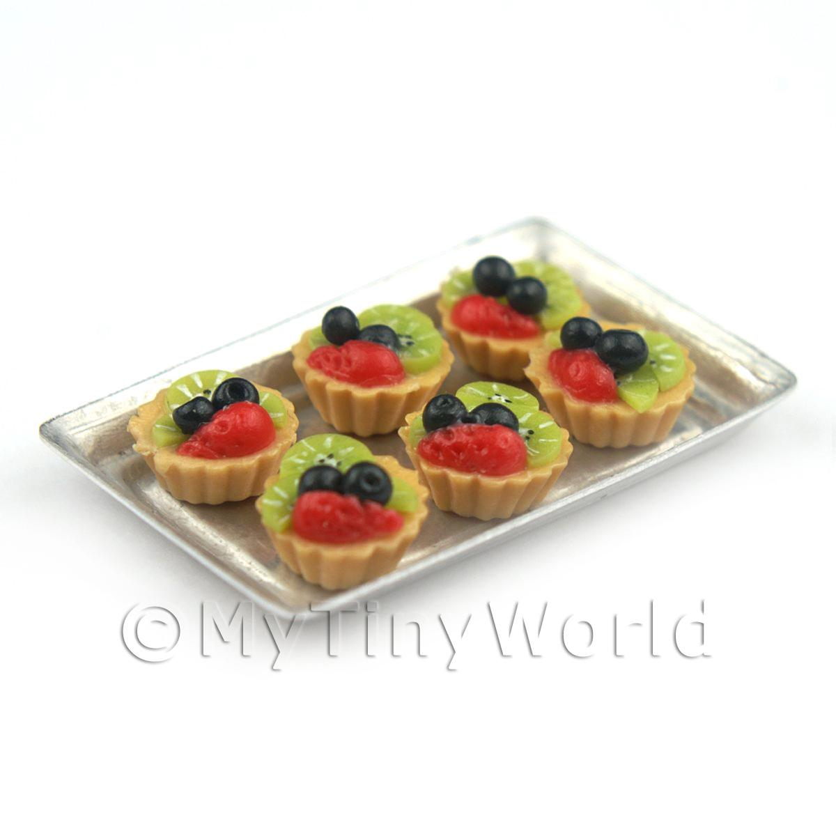 6 Loose Dolls House Miniature  Black Cherry and Kiwi Tarts on a Tray