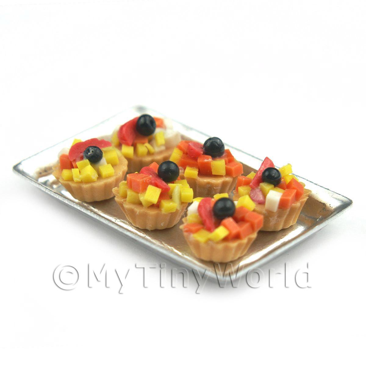 6 Loose Dolls House Miniature  Tropical Fruit Tarts on a Tray