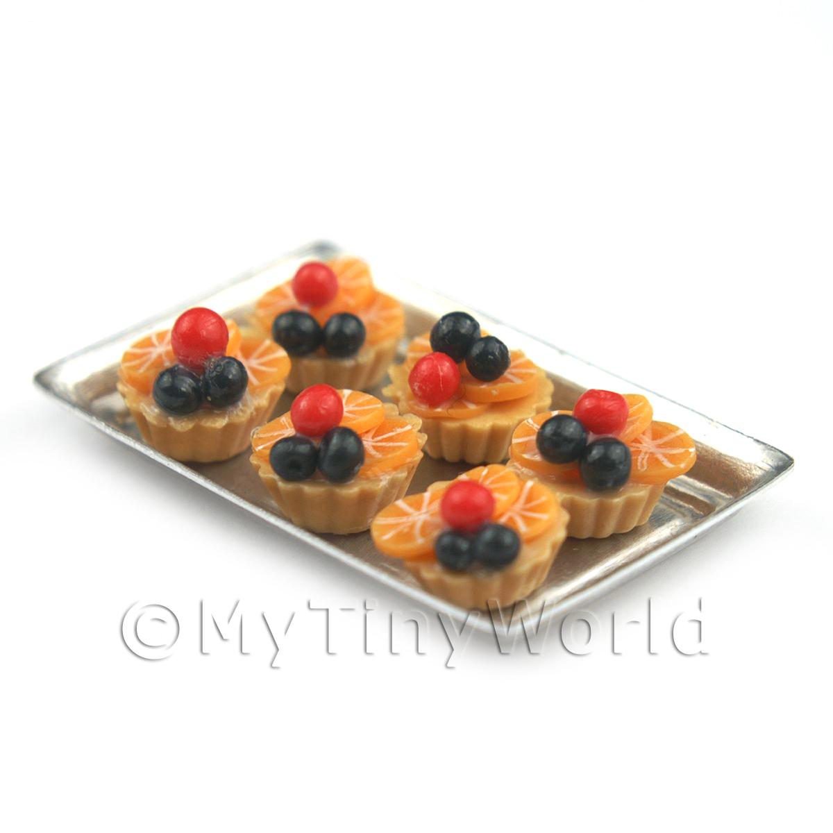 6 Loose Dolls House Miniature  Black and Red Cherry Tarts on a Tray