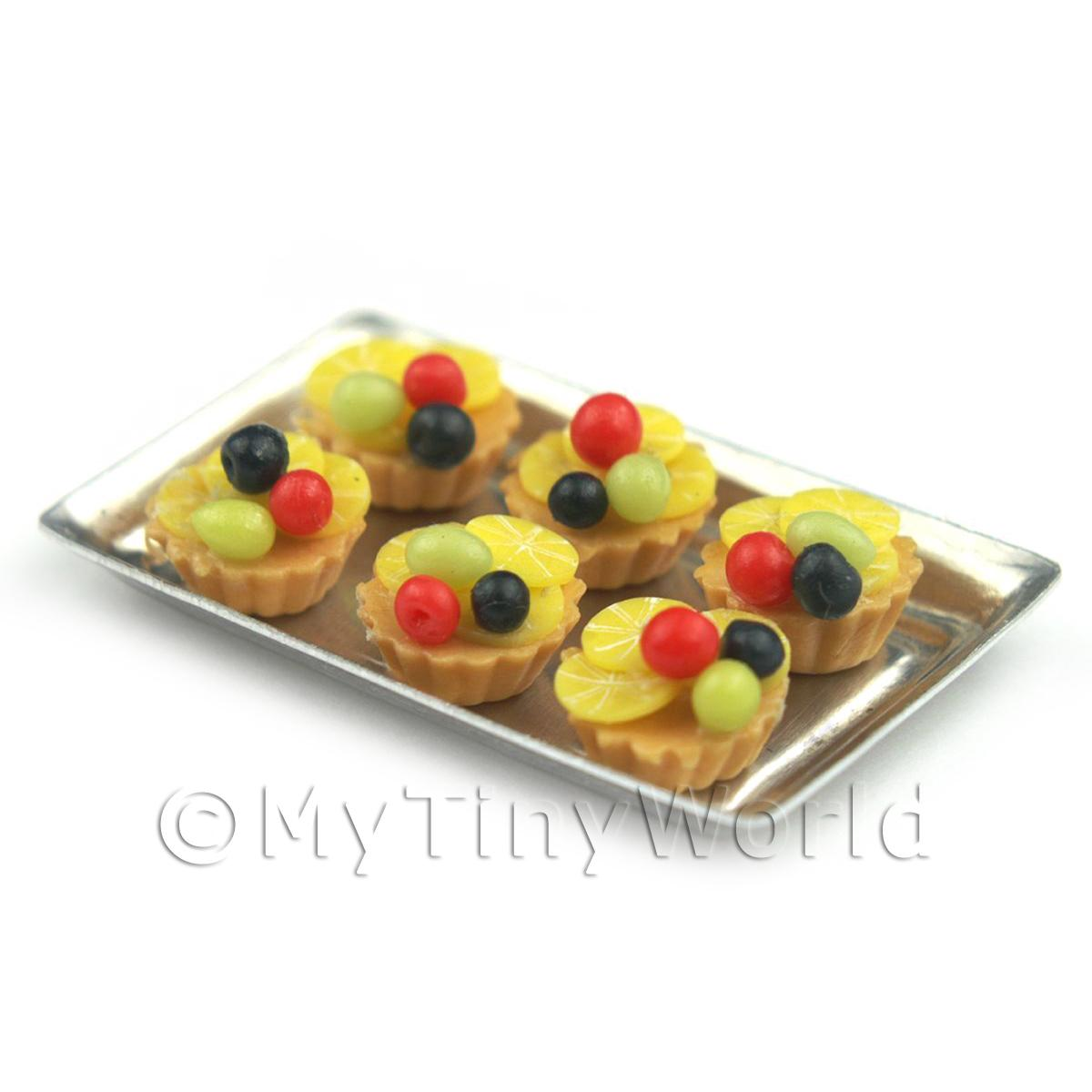 6 Loose Dolls House Miniature  Cherry and Lemon Surprise Tarts on a Tray