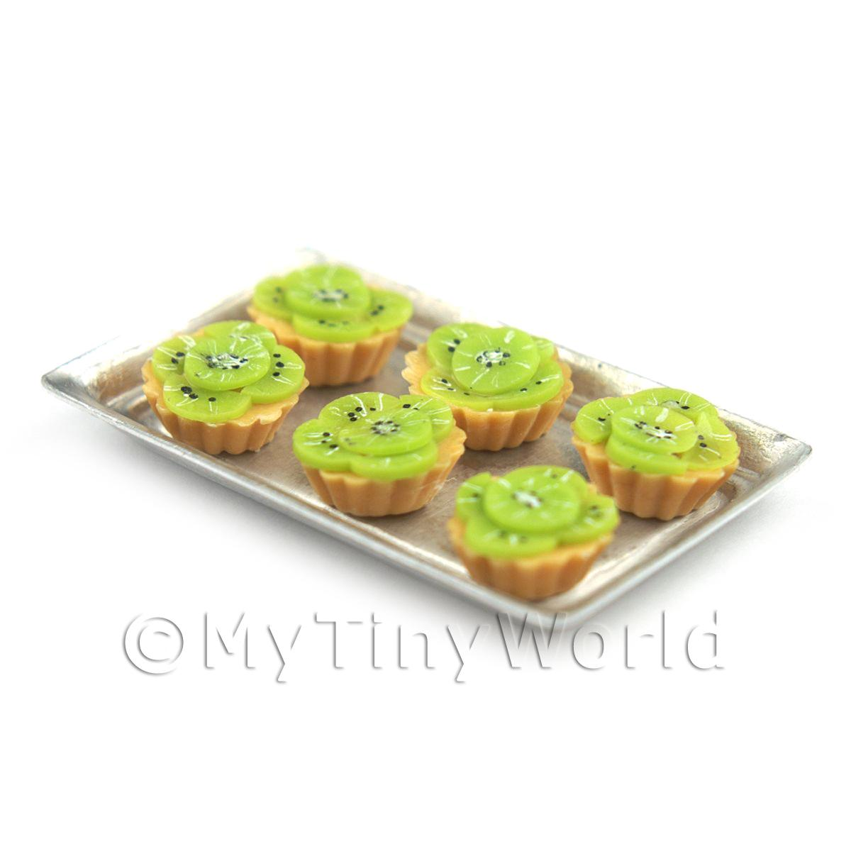 6 Loose Dolls House Miniature  Sliced Kiwi Tarts on a Tray