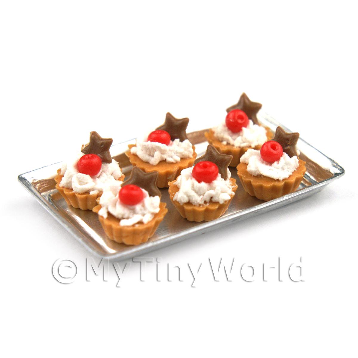 6 Loose Dolls House Miniature  Cherry and Choc Star Tarts on a Tray