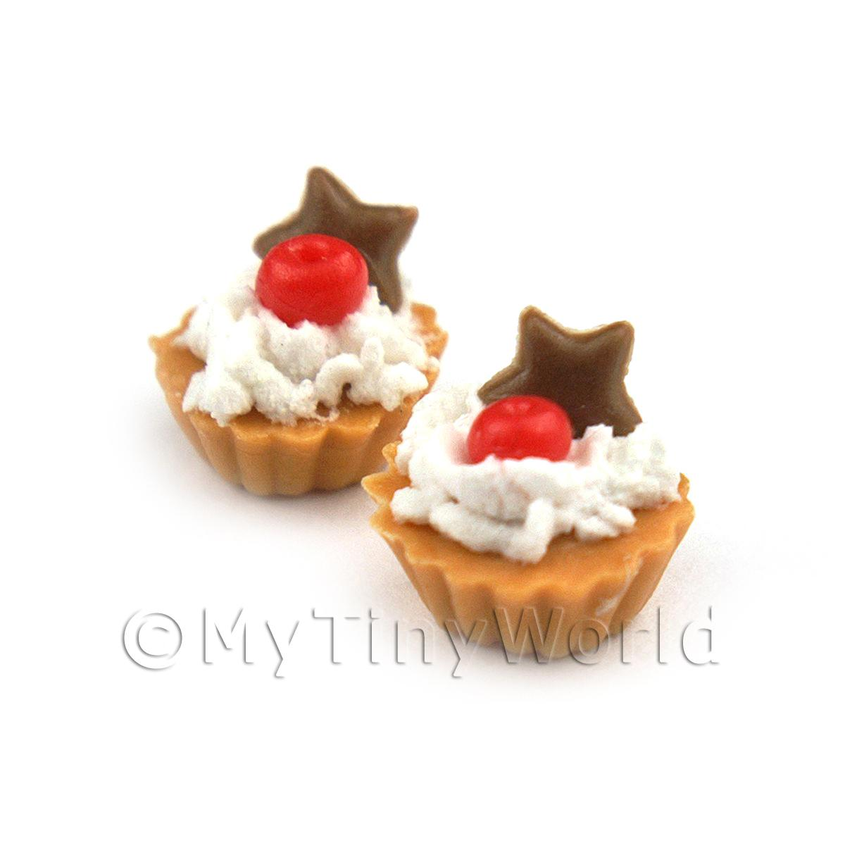 Dolls House Miniature Loose Handmade Cherry and Chocolate Star Tart