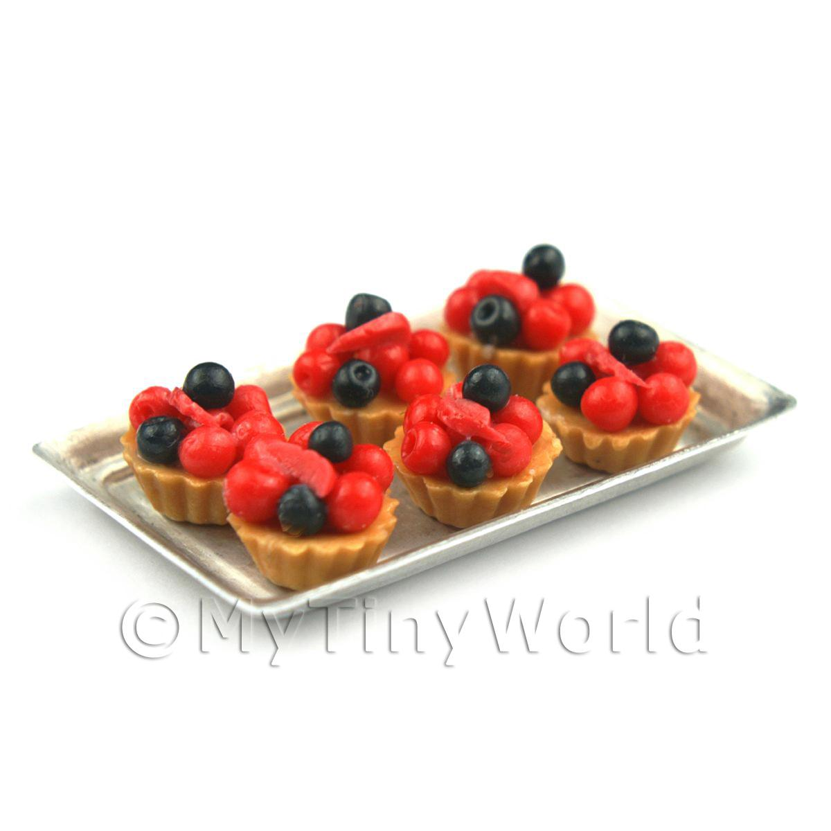 6 Loose Dolls House Miniature  Very Berry Tarts on a Tray