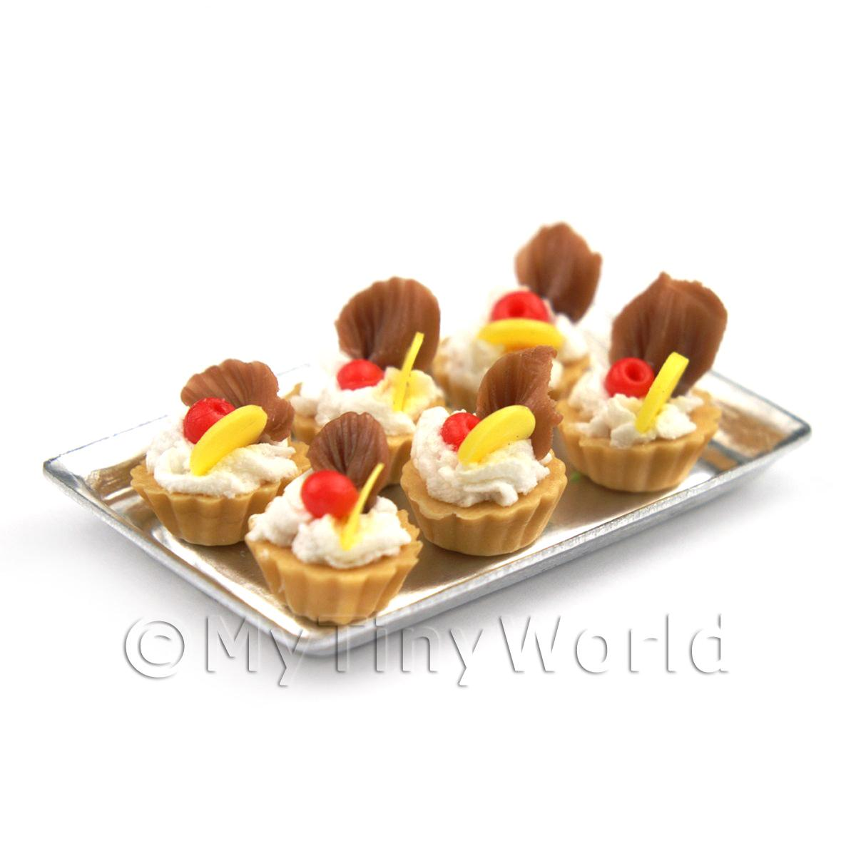 6 Loose Dolls House Miniature  Lemon and Chocolate Tarts on a Tray