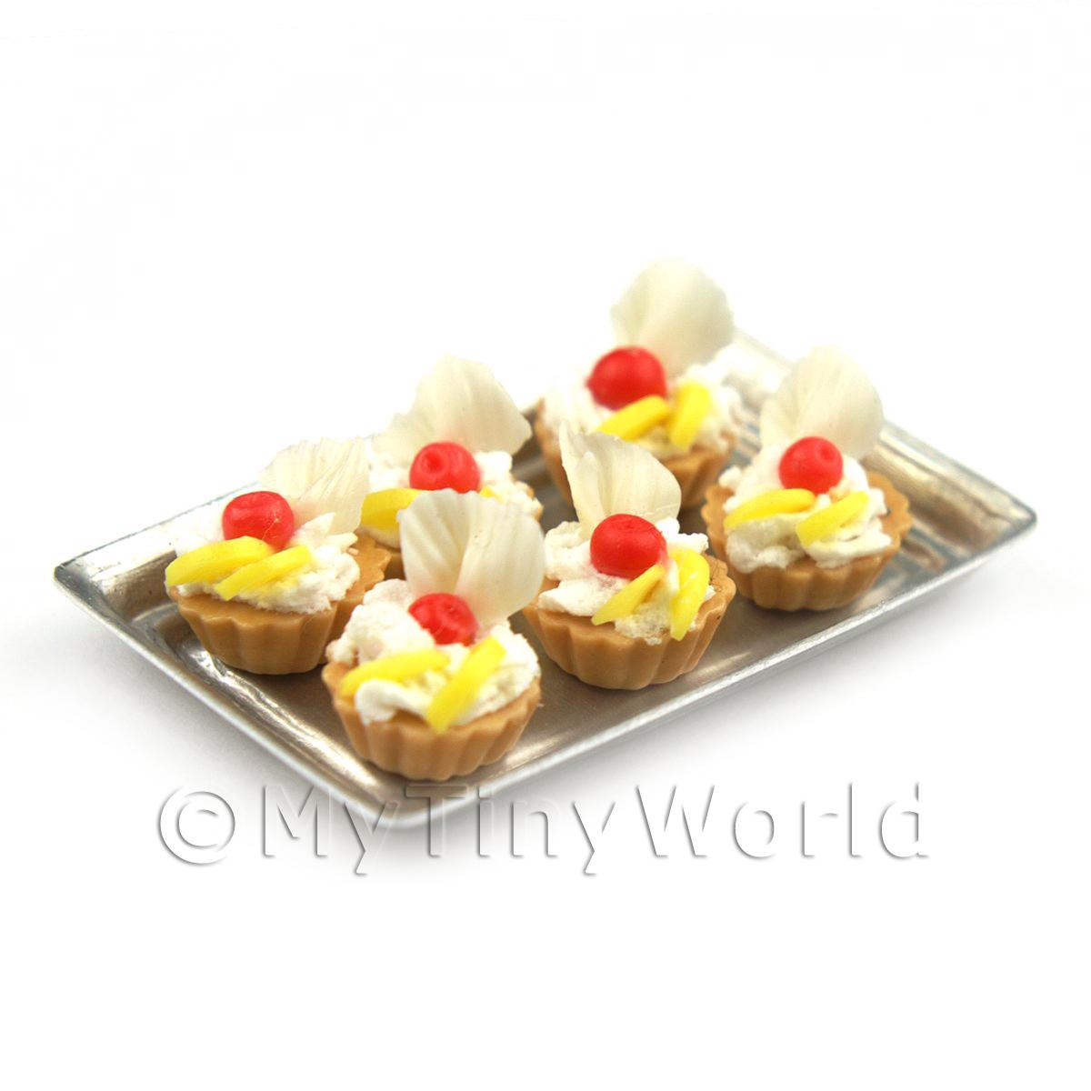 6 Loose Dolls House Miniature  Cherry and White Choc Tarts on a Tray