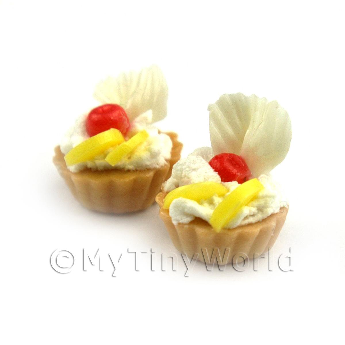 Dolls House Miniature Loose Handmade Cherry and Lemon Tart