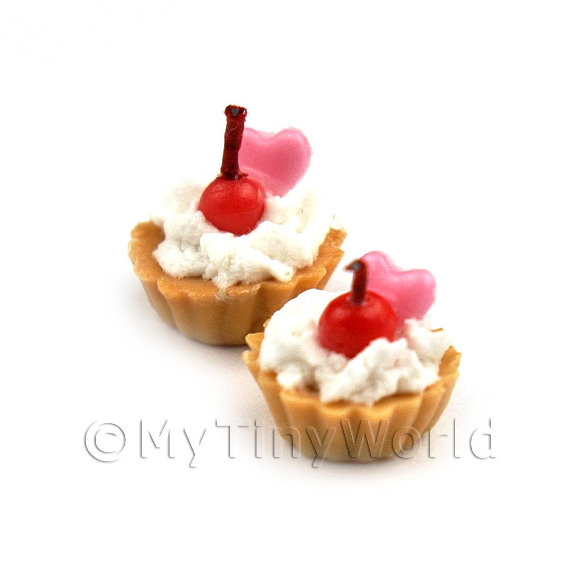 Dolls House Miniature Loose Handmade Cherry and Pink Heart Tart