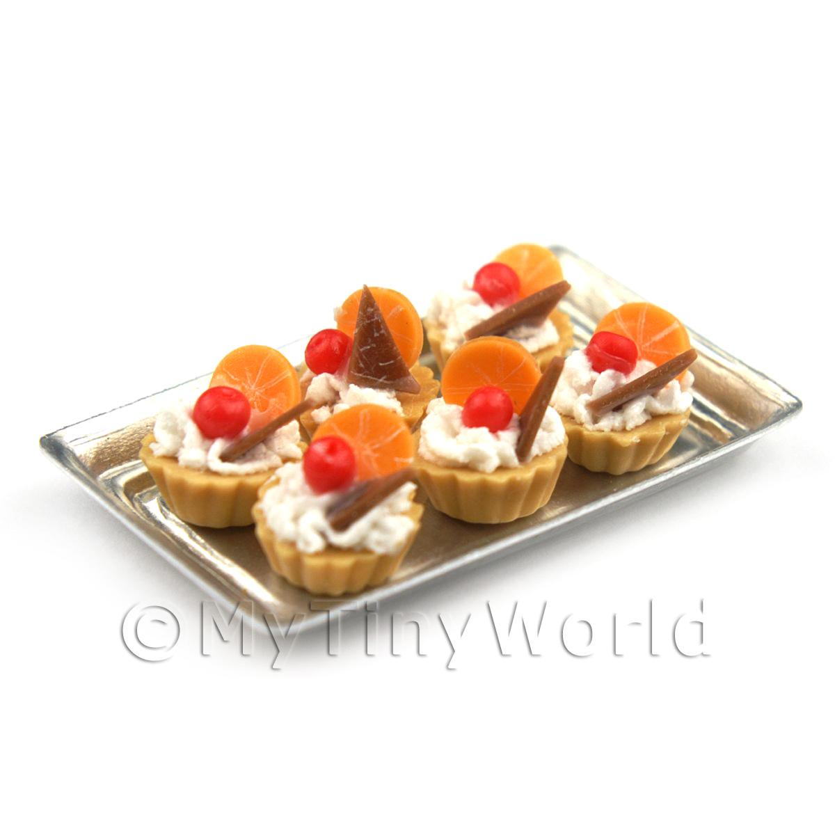 6 Loose Dolls House Miniature  Chocolate Orange Tarts on a Tray