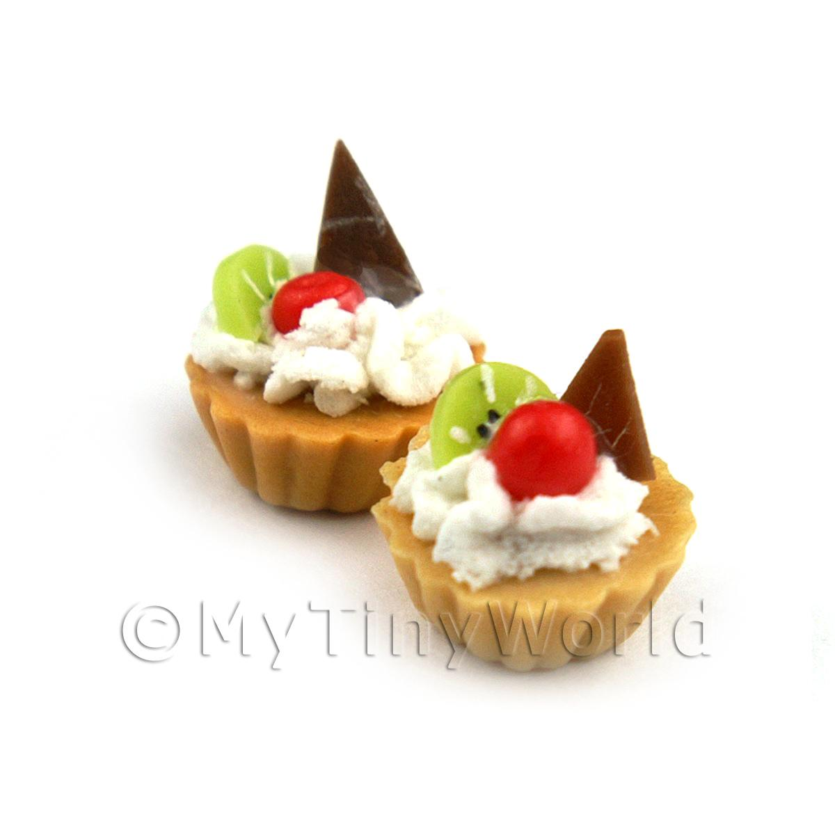 Dolls House Miniature Loose Handmade Chocolate Kiwi Tart