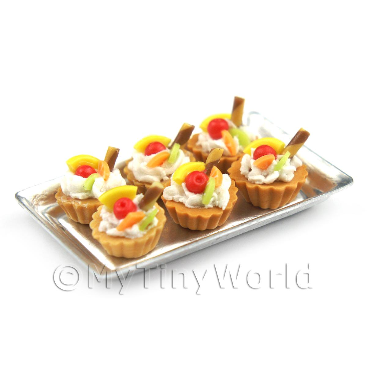 6 Loose Dolls House Miniature  Four Fruit Tarts on a Tray