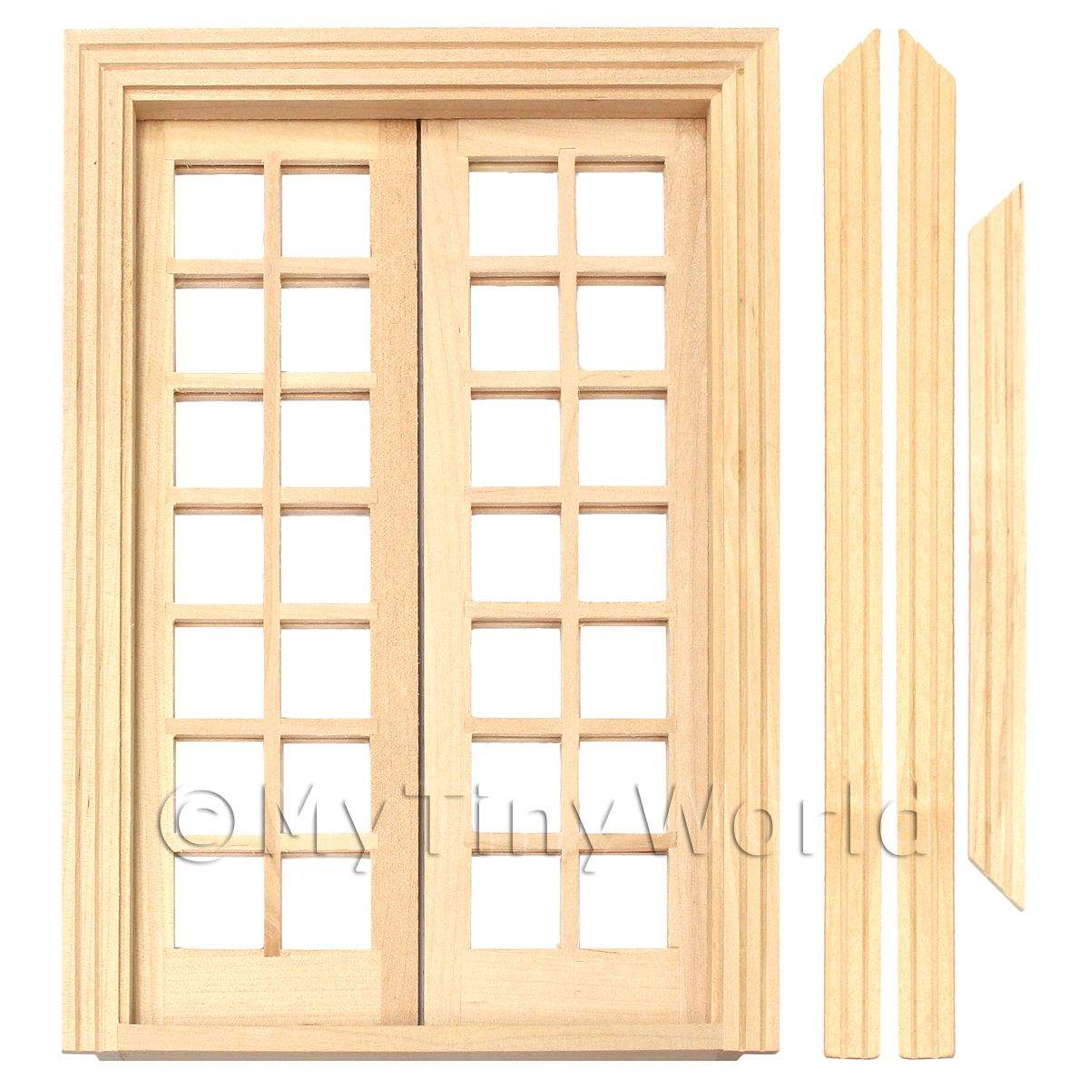 Dolls House Miniature 14 Pane Double French Doors