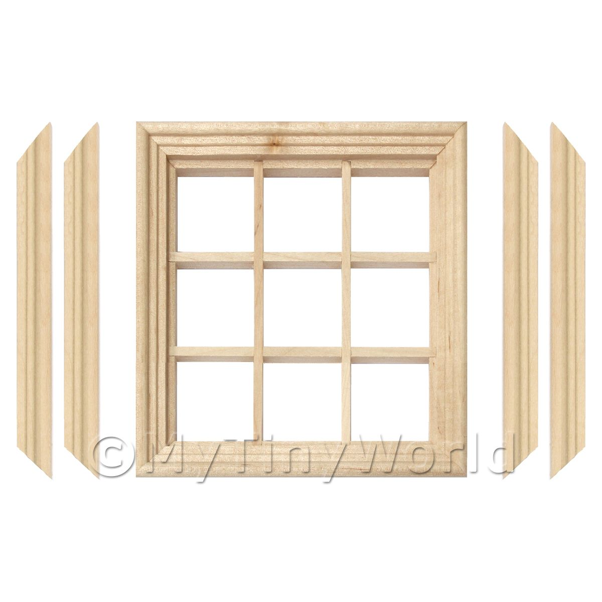 Dolls House Miniature 9 Pane Georgian Window, Frame And Glazing
