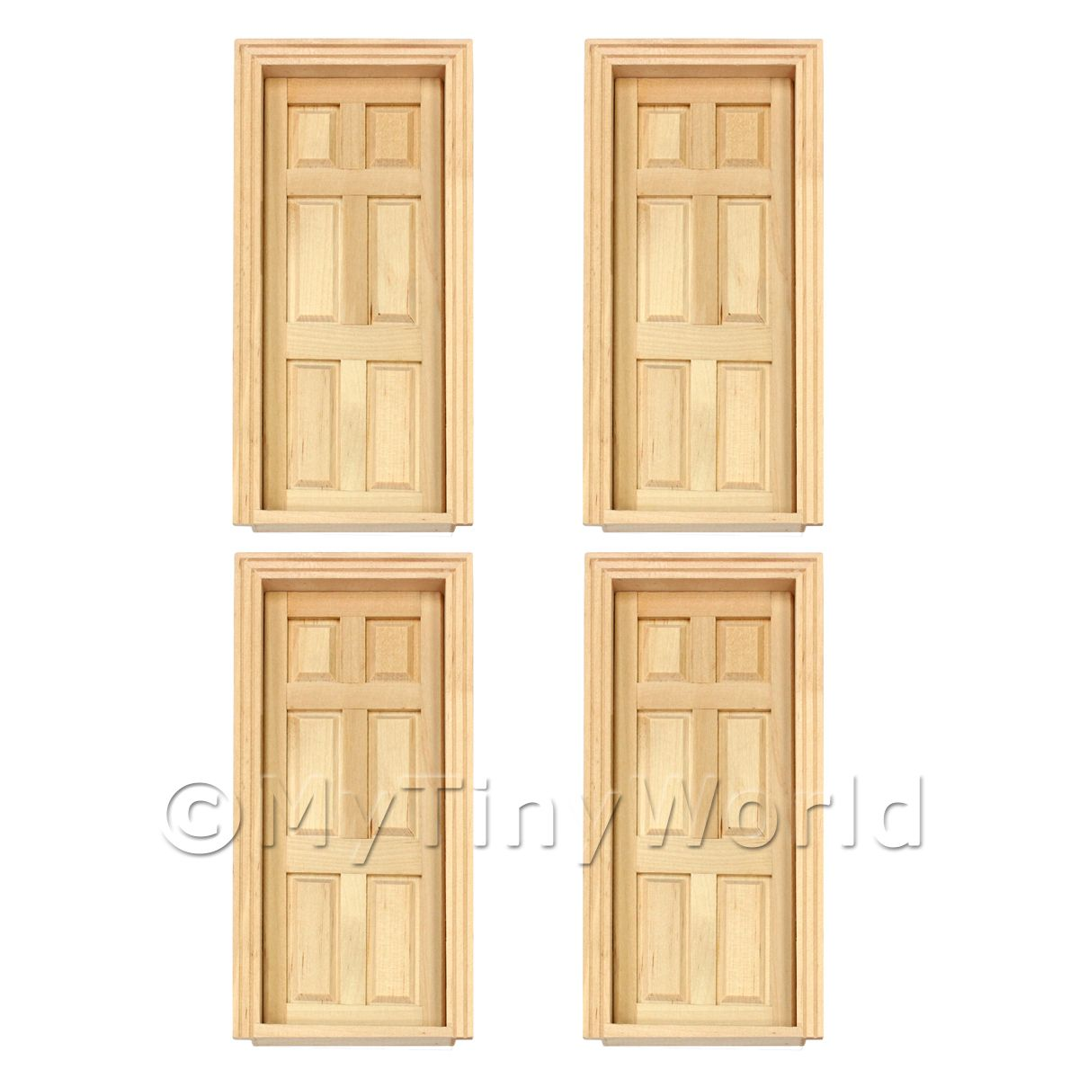 4 x Dolls House Miniature Internal 6 Panel Doors