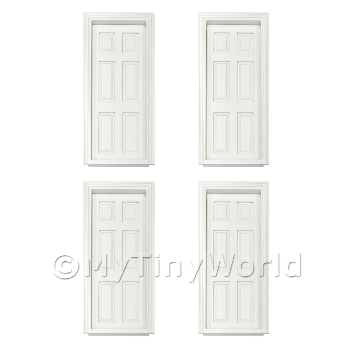 4 x Dolls House Miniature White 6 Panel Wood Doors