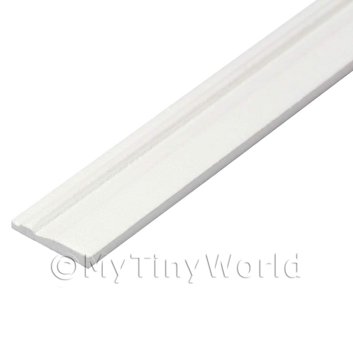 Dolls House Miniature White Painted 15mm Wood Skirting Board (Style 6