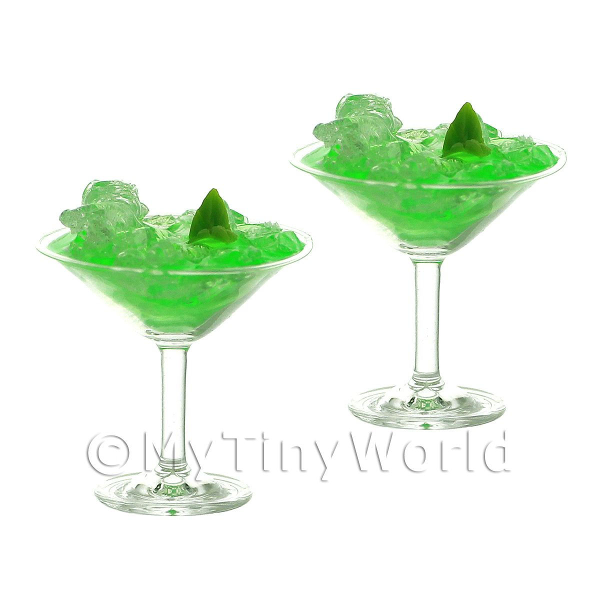 2 Miniature Pravda Mintini Cocktails In Martini Glasses