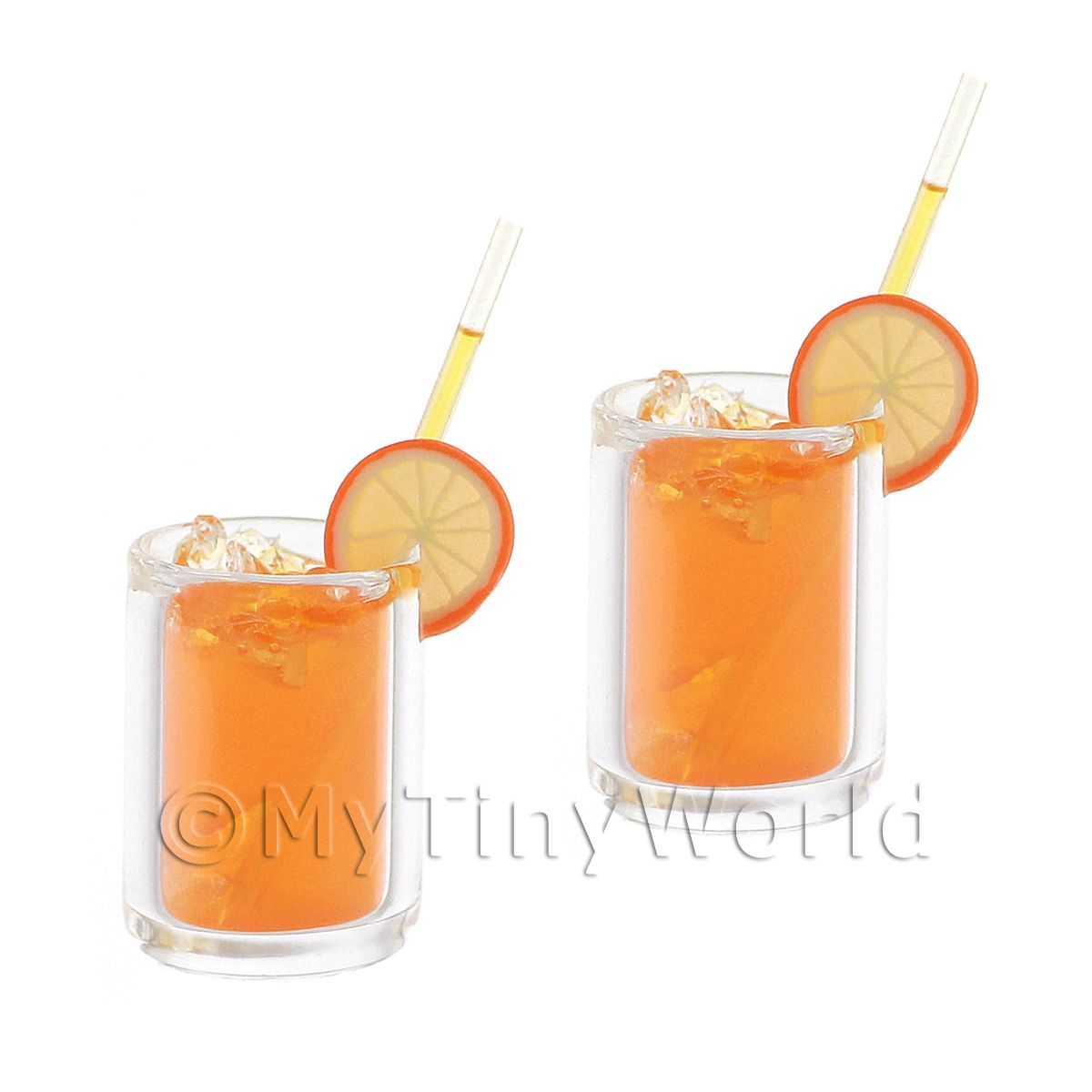 2 Miniature Vodka Orange Cocktail In Long Glasses