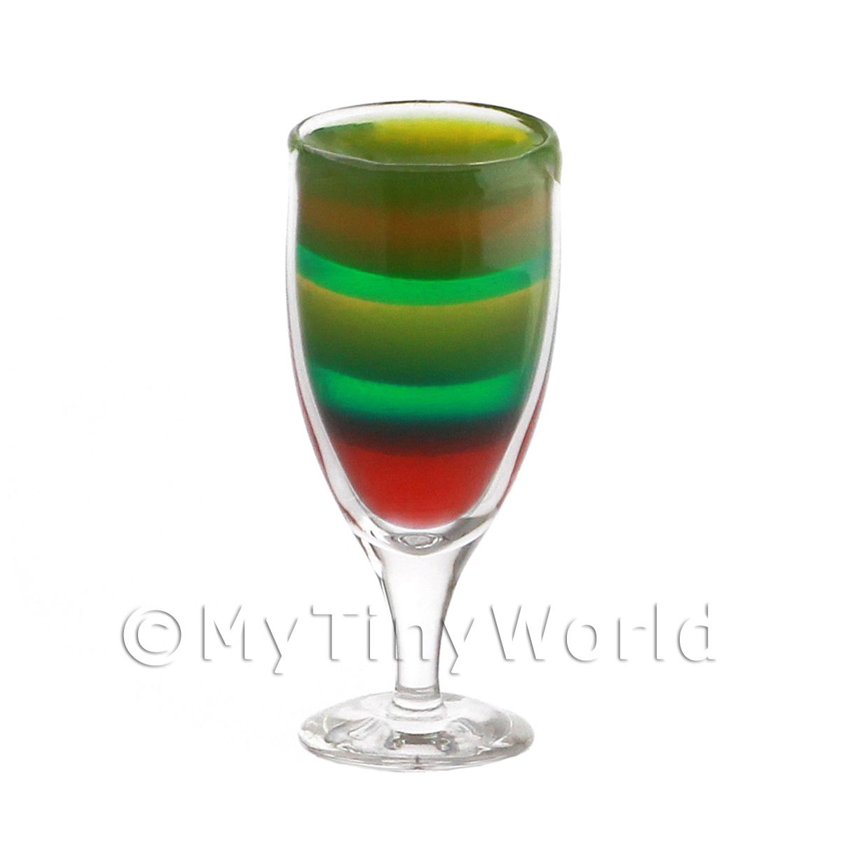 Miniature Rainbow Cocktail In a Handmade Glass