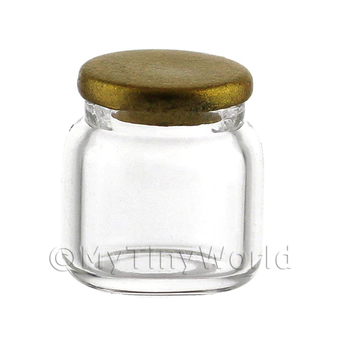 Dolls House Miniature Small Hand Blown Clear Jar With Metal Lid