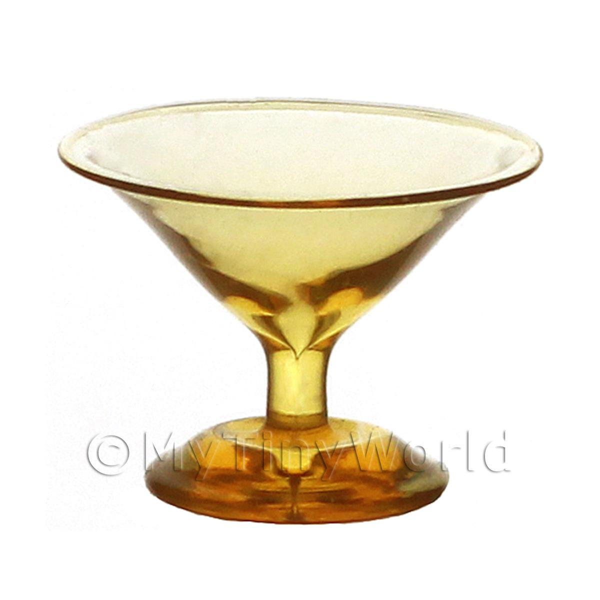 Dolls House Miniature Handmade Amber Martini Glass