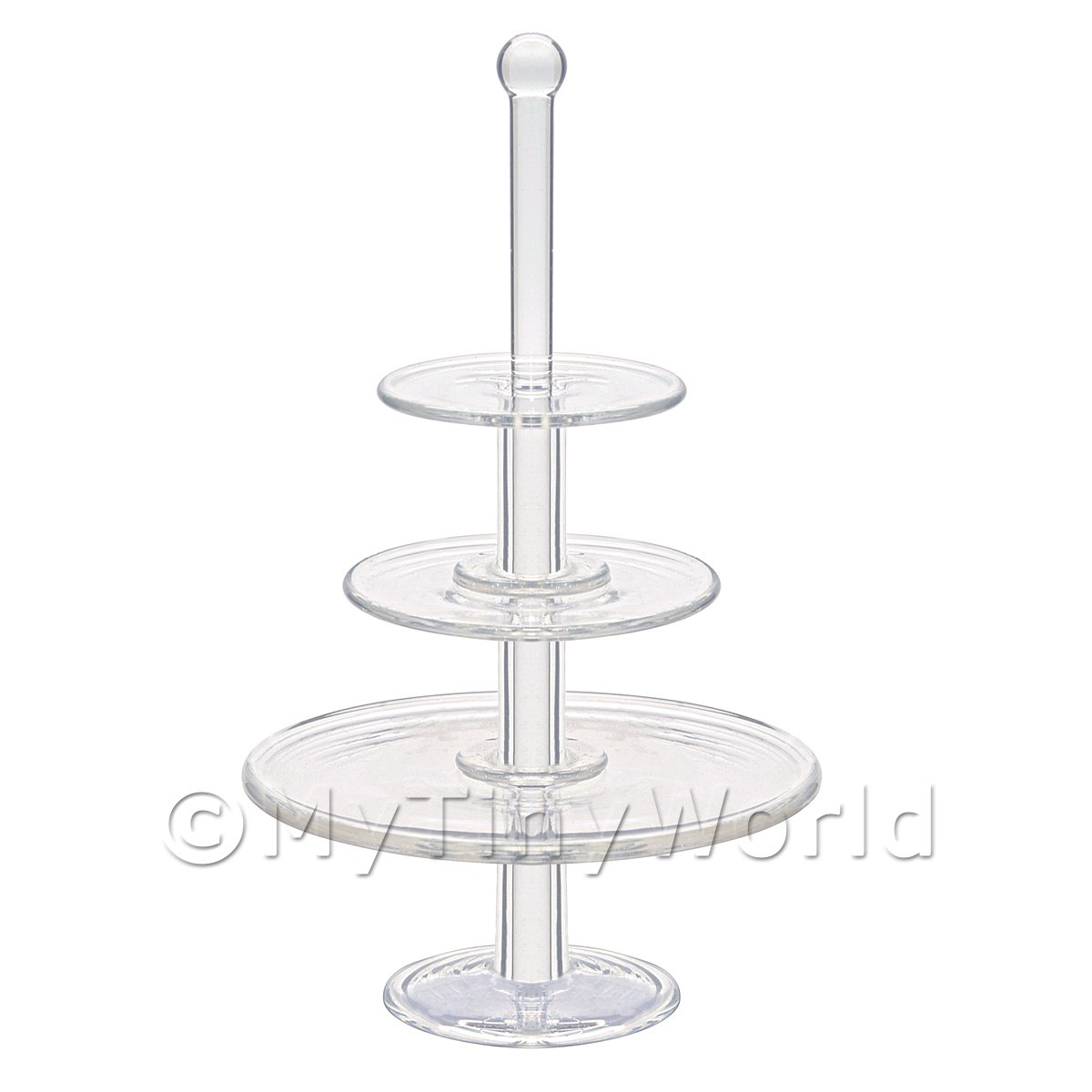 Dolls House Miniature Handmade 3 Tier Clear Glass Cake Stand