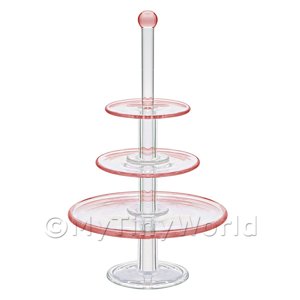 Dolls house Miniature Handmade 3 Tier Brown Glass Cake Stand