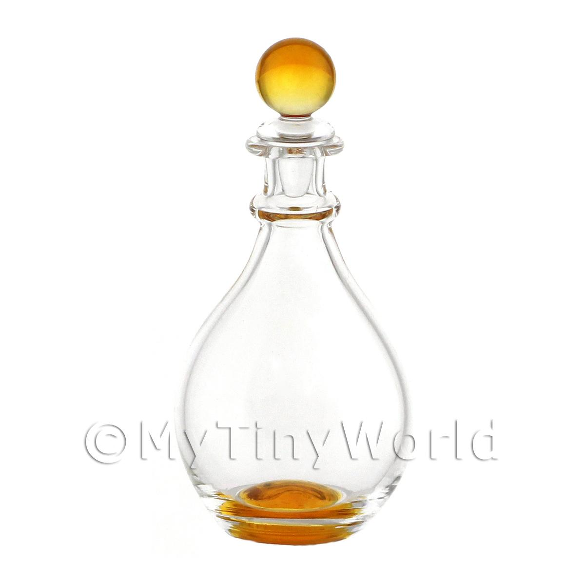 Dolls House Miniature Handmade Amber Glass Curved Decanter